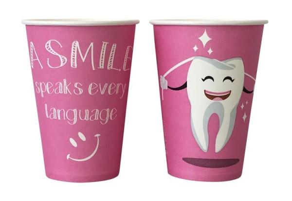 Mundspülbecher Hartpapier, recyclebar, Zahndesign rosa, 180ml