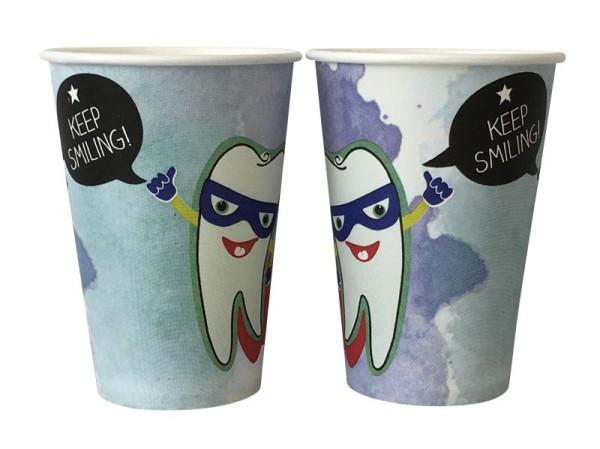 Mundspülbecher Hartpapier, recyclebar, Zahndesign Keep Smiling, 180ml
