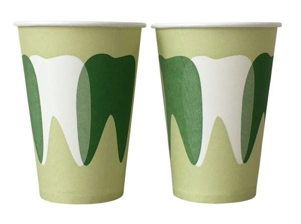 Mundspülbecher Hartpapier, recyclebar, Zahndesign grün, 180ml