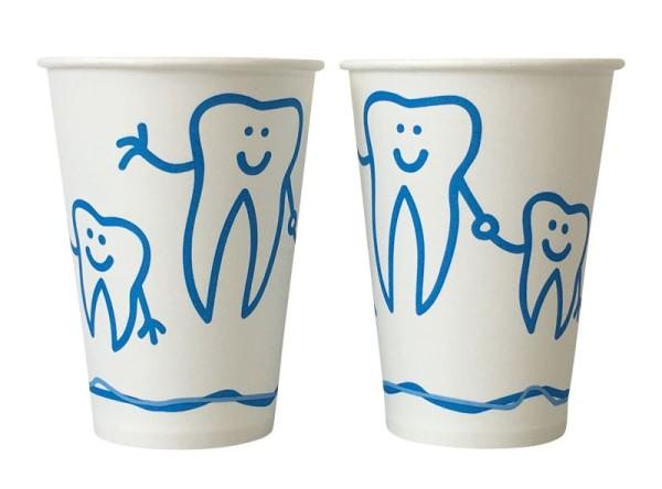 Mundspülbecher Hartpapier recyclebar Zahndesign weiß, 180 ml