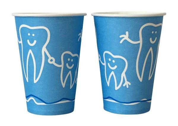 Mundspülbecher Hartpapier, recyclebar, Zahndesign blau, 180ml